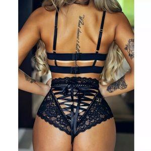 2 pc Bondage Black Bra Lace Up Back Panty S